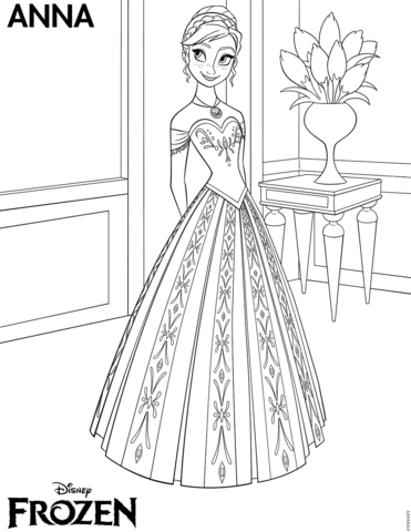 Frozen Anna coloring page - Free Printable Coloring Pages