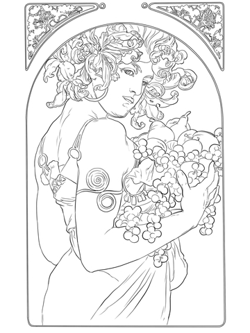 Fruit by Alphonse Mucha coloring page