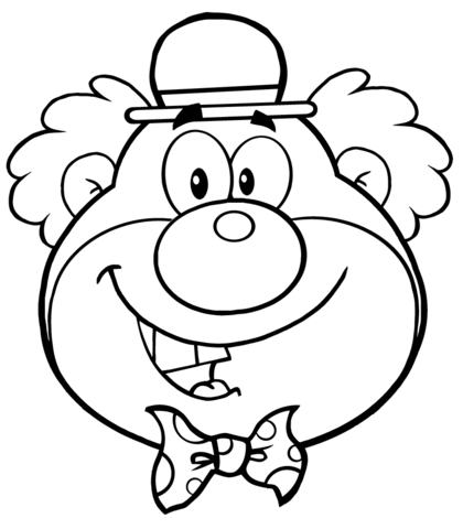Funny Clown Head coloring page