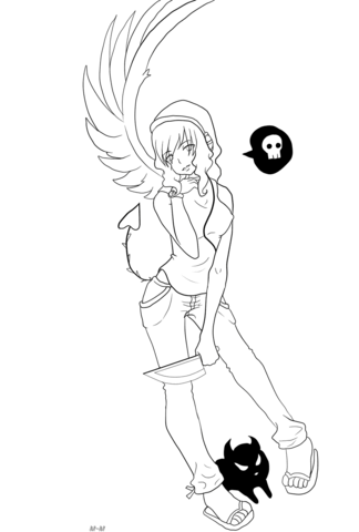 Gaia Anime Devil Girl Character coloring page