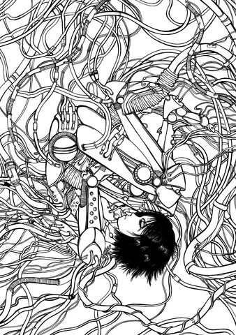Gally from Gunnm Battle Angel Alita coloring page