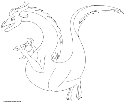 Gentle Dragon Coloring page