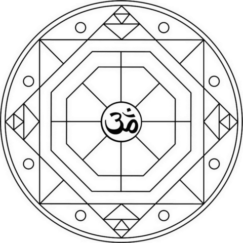 Geometric Mandala with Om Symbol coloring page