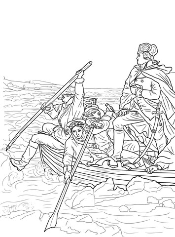 George Washington Crossing the Delaware coloring page