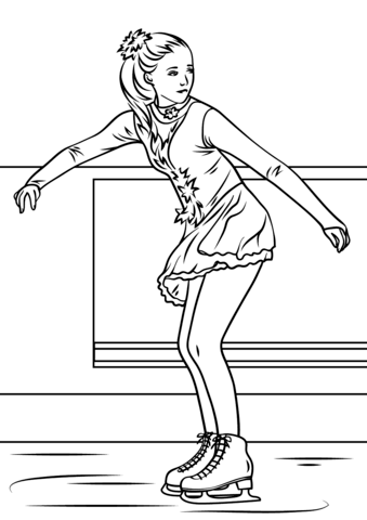 Ice Skating Girl Coloring page