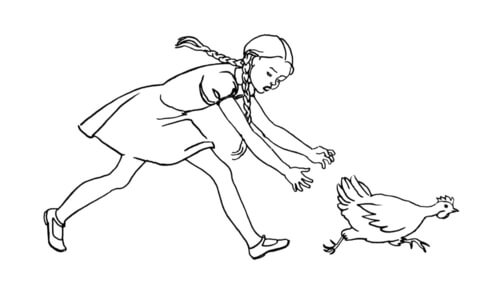 Girl Is Chasing the hen coloring page