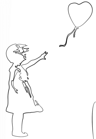 Girl with Balloon by Banksy coloring page