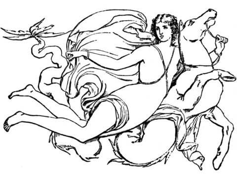 Goddess Is Flying On The Horse  coloring page