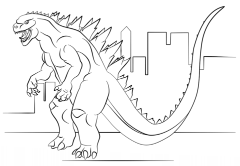 godzilla coloring page free printable coloring pages