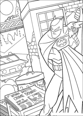 Gotham's Crime Down  coloring page
