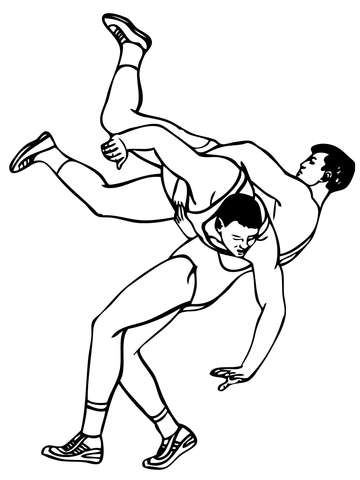 greco roman wrestling throw coloring page