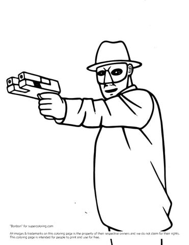 Green Hornet With Gun coloring page