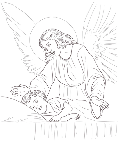 Guardian Angel Over Sleeping Child coloring page