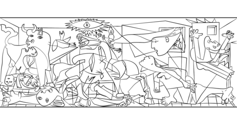 Guernica by Pablo Picasso coloring page