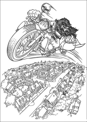 Hagrid Rides Flying Motorcycle  coloring page