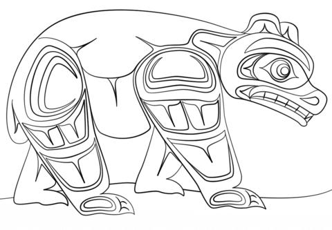 Haida Art Bear Coloring Page