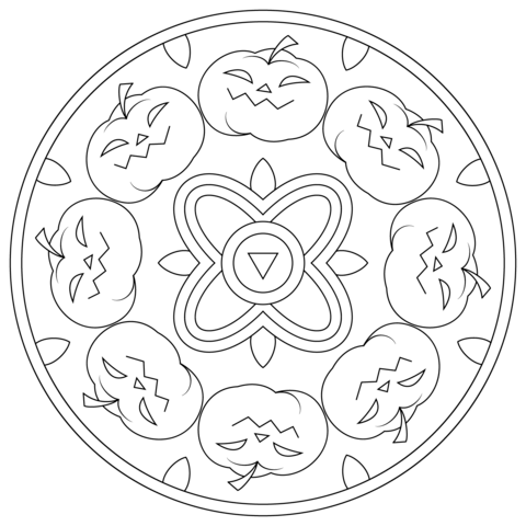 Halloween Mandala with Pumpkins coloring page