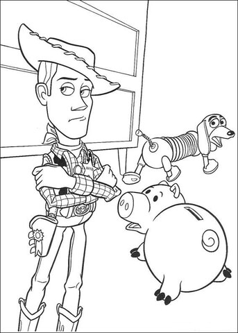 Hamm Woody Sheriff And Slinky Dog  coloring page