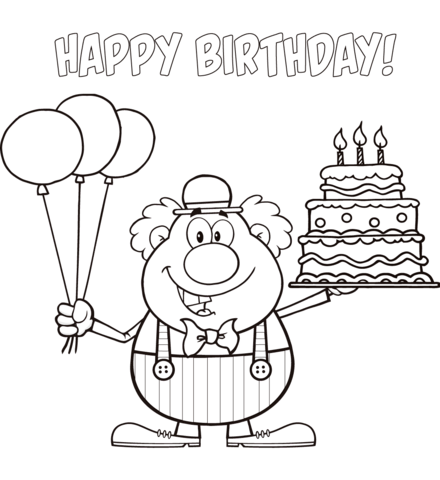 Happy Birthday Clown with Balloons and Cake coloring page