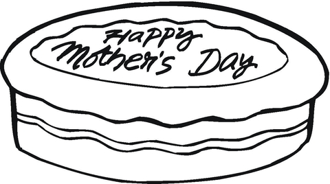happy mothers day cake coloring page