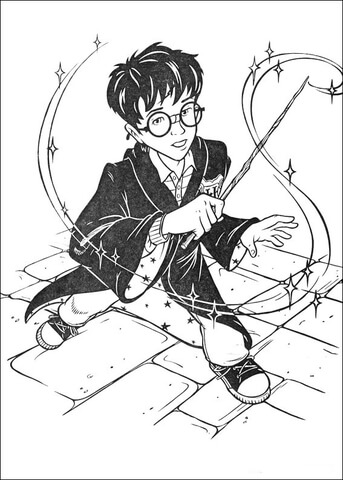 Harry with his Magic Stick  coloring page
