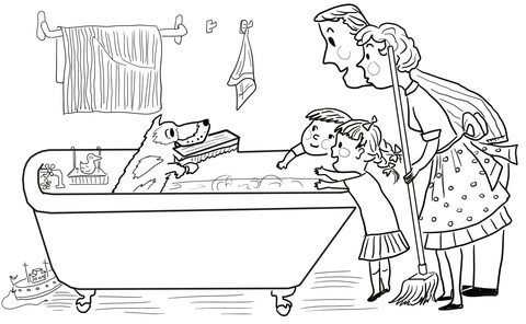 Harry the Dirty Dog in the Bathroom coloring page