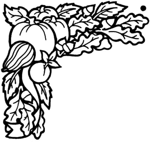 Vegetables harvested in September coloring page