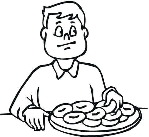 A man likes bagels coloring page