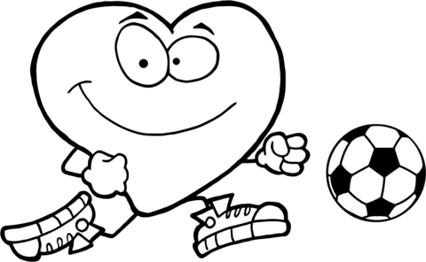 Healthy Red Heart with a Soccer Ball coloring page