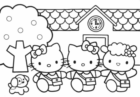 Hello Kitty Friends  coloring page