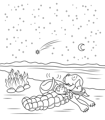 Henry And Mudge and The Starry Night coloring page