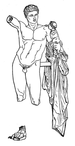 Hermes and Venus coloring page