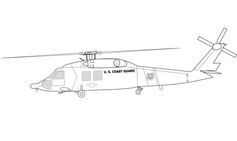 HH-60J US Coast Guard Helicopter coloring page