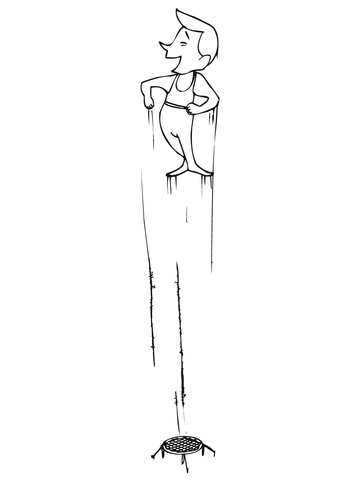 high jump on trampoline coloring page