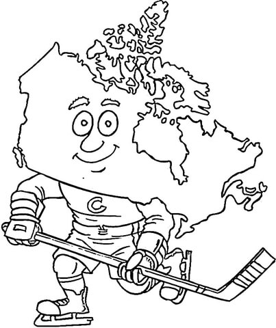 Canadian map, a hockey Player coloring page