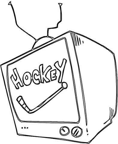 Hockey On Tv  coloring page