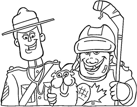 Canadian symbols: mounted police, beaver and hockey coloring page