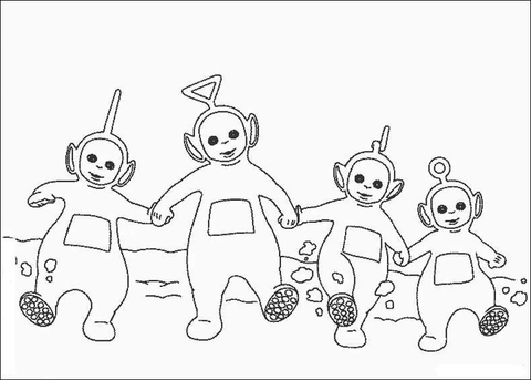 Teletubbies Hold Hand Together  coloring page