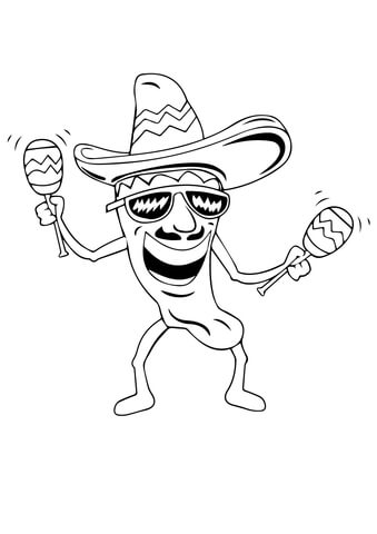 Hot Chilli with Maracas coloring page