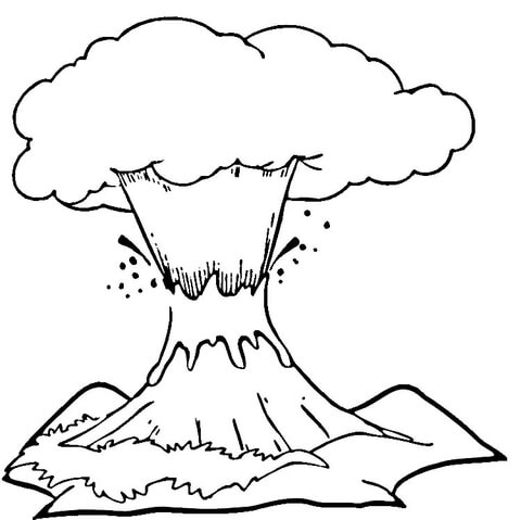 Volcano eruption  Coloring page