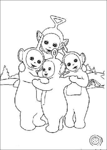 Teletubbies Hugging  coloring page