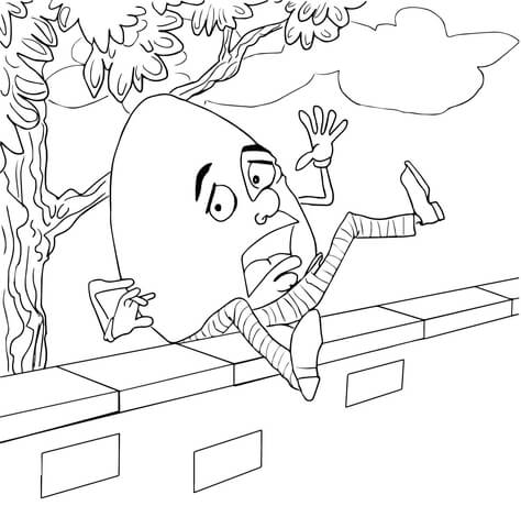 Humpty Dumpty Fell Off the Wall coloring page