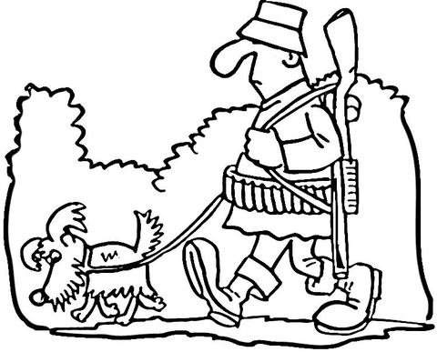 Hunter and Dog  coloring page