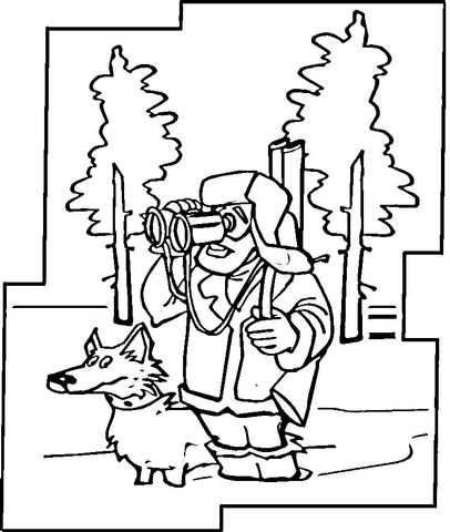 Hunter with Dog in the Winter  coloring page