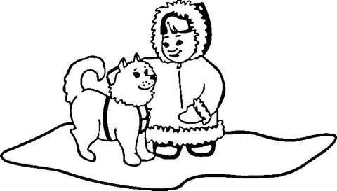 Eskimo Dog with Little Girl coloring page