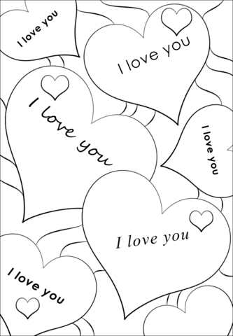 I Love You Hearts Coloring Page