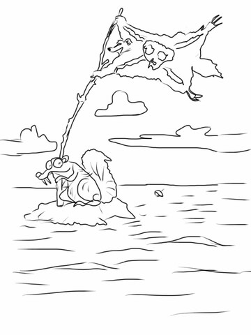 Scrat Is Trying To Find His Acorn Again! coloring page - Free ...