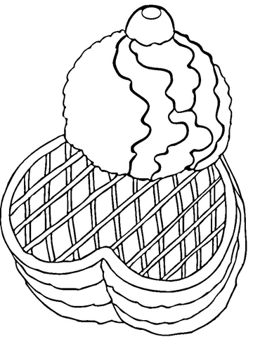 Ice Cream with Waffles  coloring page