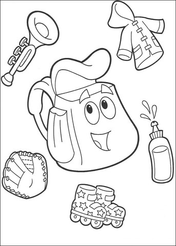 A trumpet, coat, roller blades  coloring page
