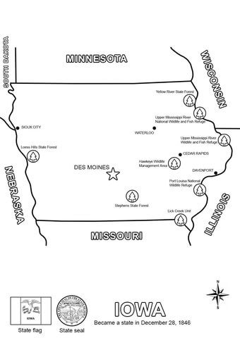Iowa Map coloring page